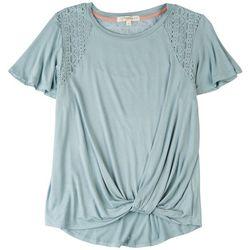Rewind Juniors Solid Shirt With Mesh Shoulders