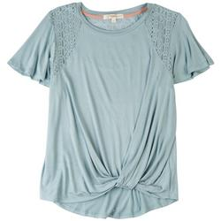Juniors Solid Shirt With Mesh Shoulders