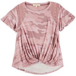 Rewind Juniors Pink Camo Shirt With Mesh Shoulders