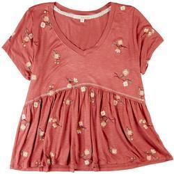Juniors Floral Babydoll Short Sleeve