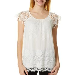 Miss Chievous Juniors Lace Short Sleeve Top