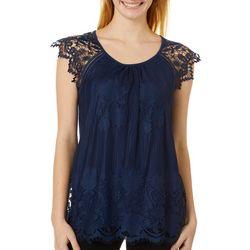 Miss Chievous Juniors Lace Short Sleeve Top