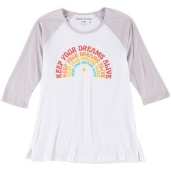 Rebellious One Juniors Dreams Raglan 3/4 Sleeve Top