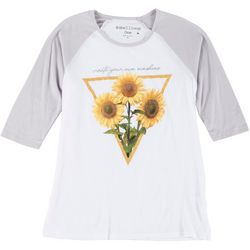 Rebellious One Juniors Sunflower Sunshine Raglan T-Shirt