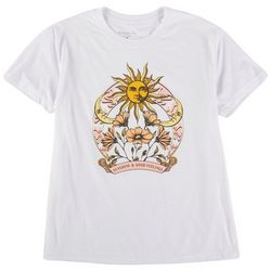 Rebellious One Juniors Sun and Flower Print Short Sleeve Top