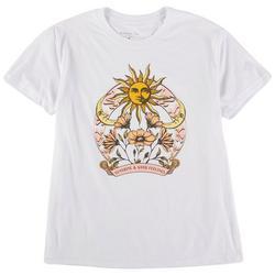 Juniors Sun and Flower Print Short Sleeve Top