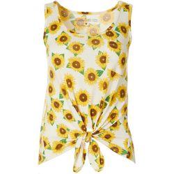 Juniors Sunflower Tie Front Top