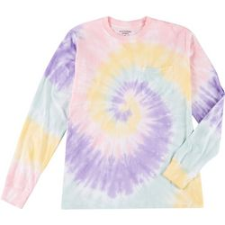 Dreamsicle Juniors Tie Dye Pocketed Long Sleeve Shirt