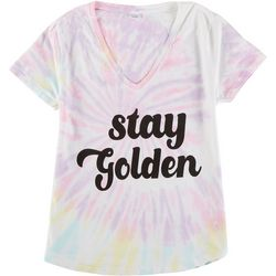 Dreamsicle Juniors Stay Golden Tie Dye Graphic Tee