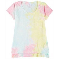 Juniors Tie Dye Pocket Short Sleeve T-Shirt