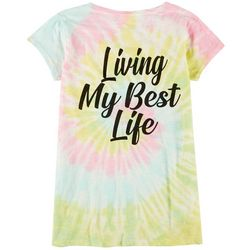 Juniors Tie Dye Living My Best Life T-Shirt