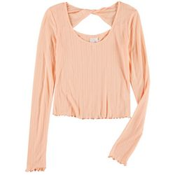 Belle Du Jour Juniors Twisted Back Knit Top