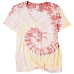 Belle Du Jour Juniors Tie Dye Twist Bottom Short Sleeve Top