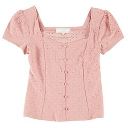 No Comment Juniors Short Sleeve Solid Eyelet Top