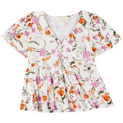 No Comment Juniors Floral V-Neck Peplum Ruffle Top