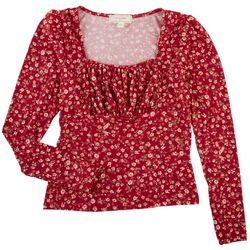 No Comment Juniors Long Sleeve Ruched Floral Top