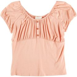 No Comment Juniors Solid Puffy Sleeved Blouse