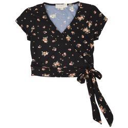 Juniors Waist Tie Floral Crop Top