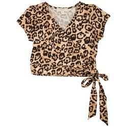 Juniors Waist Tie Leopard Crop Top
