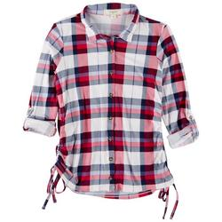 Juniors Plaid Rouched Long Sleeve Top