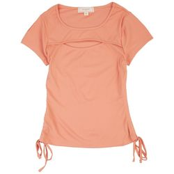 No Comment Juniors Ruched Short Sleeve Top