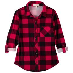 Juniors Plaid Rolled Long Sleeve Top