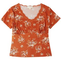 No Comment Juniors Lace Neck Fitted Top