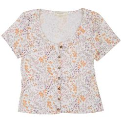 No Comment Juniors Ribbed Button Down Floral Top