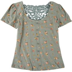 No Comment Juniors Floral Lace Back Short Sleeve Top