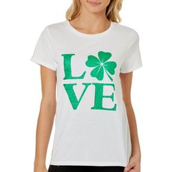 No Comment Juniors Love Shamrock Short Sleeve Top