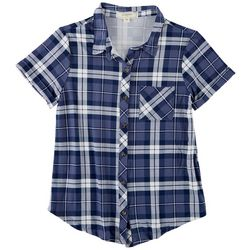 No Comment Juniors Checkered Button Down Top