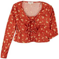 No Comment Juniors Ribbed Floral Twinset Long Sleeve Top