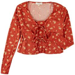 Juniors Ribbed Floral Twinset Long Sleeve Top