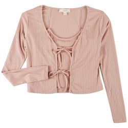 No Comment Juniors Ribbed Twinset Long Sleeve Top