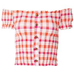 Derek Heart Juniors Off The Shoulder Plaid Smocked Top