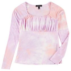Juniors Tie Dye Babydoll Long Sleeve Top