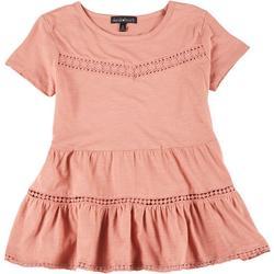 Juniors Solid Babydoll Short Sleeve Top