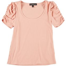 Derek Heart Juniors Solid Ribbed Puff Shoulder Top