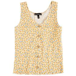 Juniors Ribbed Floral Sleeveless Top