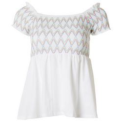 Derek Heart Juniors Chevron Smocked Top