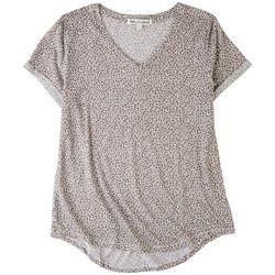 Wallflower Juniors Leopard V-Neck T-Shirt