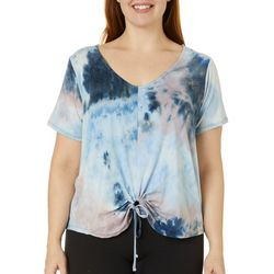 Wallflower Juniors Plus Tie Dye Loop Front Top