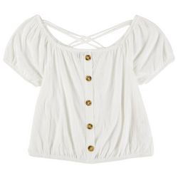 Almost Famous Womens Solid Short Sleeve Shirt With Buttons