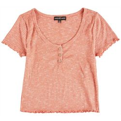 Almost Famous Juniors Three Button Placket Detail Top