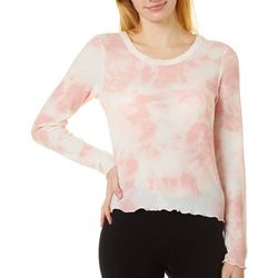 Almost Famous Juniors Tie Dye Waffle Knit Top