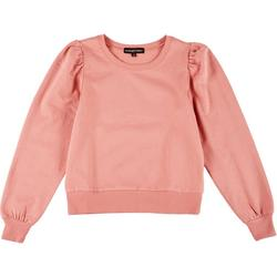 Womens Solid Puff Sleeve Sweater