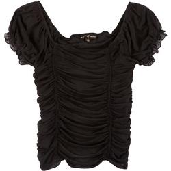 Juniors Off the Shoulder Solid Ruched Top