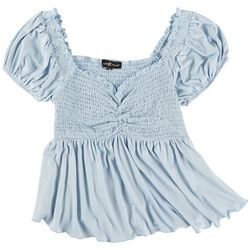 Almost Famous Juniors Babydoll Solid Ruched Top