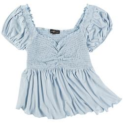 Juniors Babydoll Solid Ruched Top