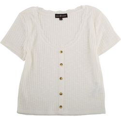 Almost Famous Juniors Solid Short Sleeve Shirt With Lace